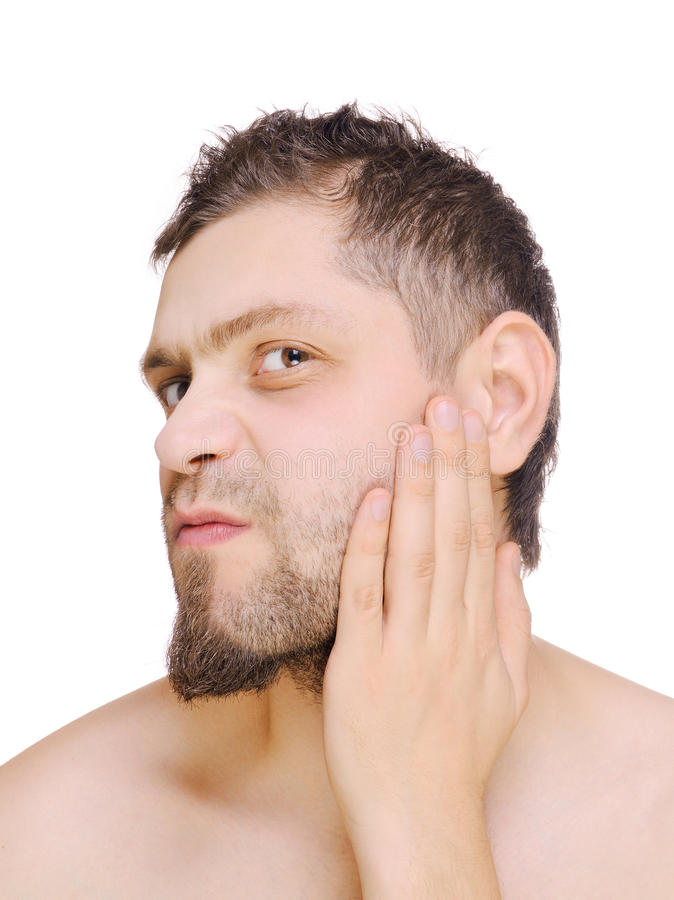 Download Men before shaving stock photo. Image of isolated, young - 22654292