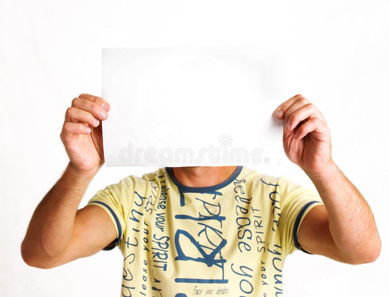 Men and sheet of paper stock image