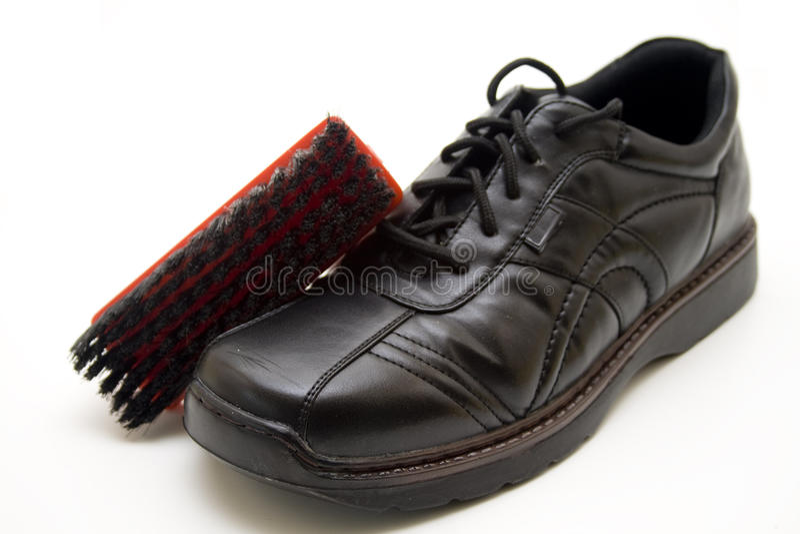 Download Men shoe with shoe brush stock image. Image of fashion - 22826903