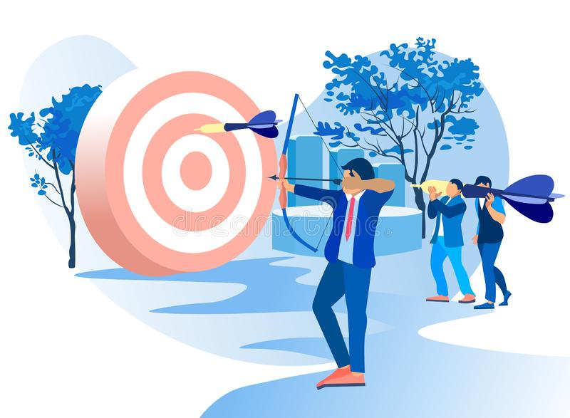 Men Shoots Bow at Target. Arrows Different Sizes. Achive Goal. Overcome Obstacles. Successful Businessman. Vector Illustration. Competitive Work in Office vector illustration