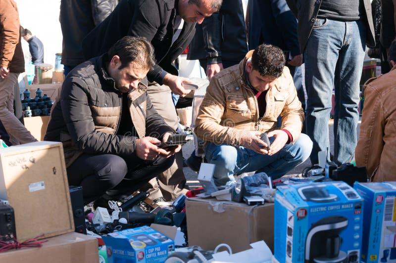 Men Shopping Used Electronic Iraq. Men Shopping Used Electronic devices in Iraq street stock photography