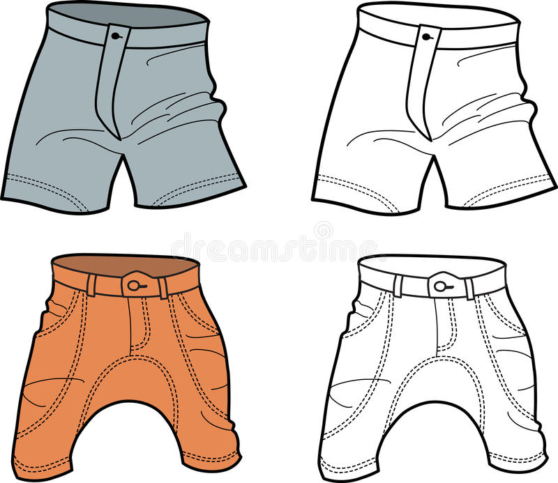 Download Men shorts (front view) stock vector. Image of outlines - 23466234