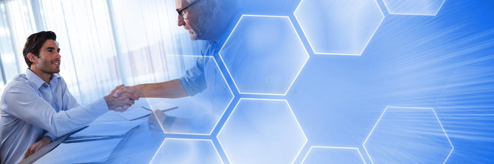 Men Signing Paper Agreement with hexagon interface transition. Digital composite of Men Signing Paper Agreement with hexagon interface transition stock images