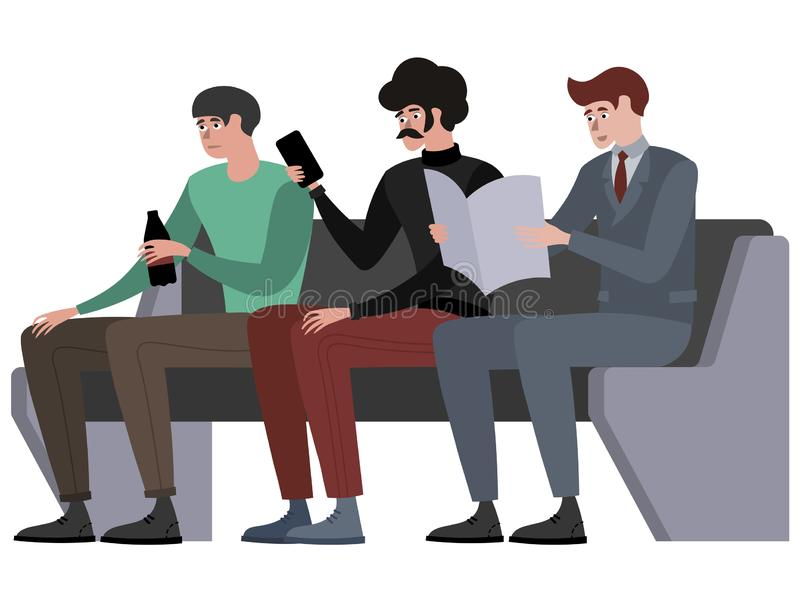 Men sit in waiting, turn, public transport seat. In minimalist style Cartoon flat Vector, isolated on white background stock illustration