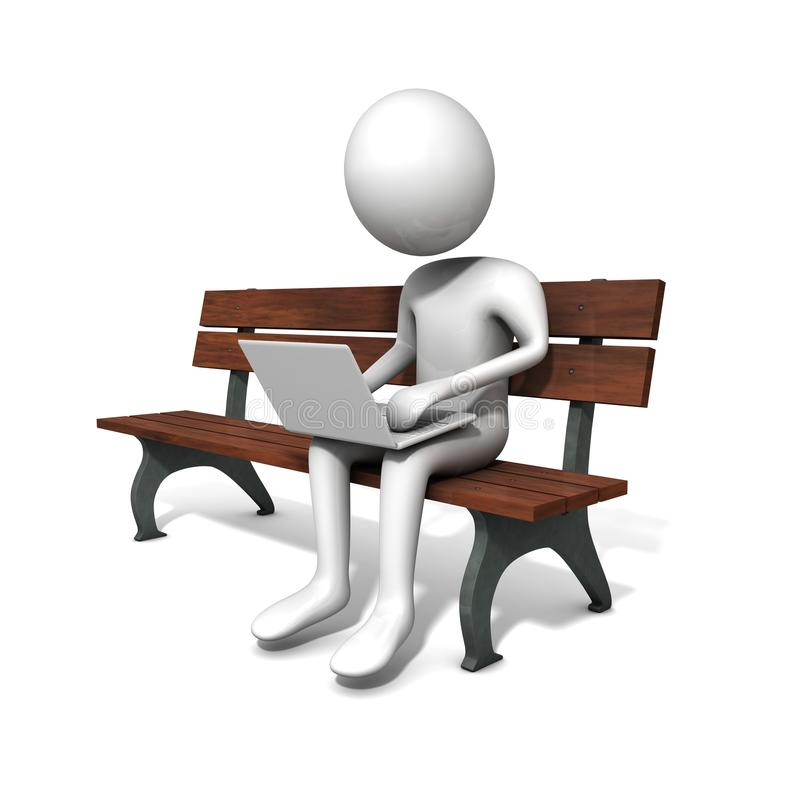 Free Men Sitting On The Bench With A White Laptop Royalty Free Stock Images - 14710869