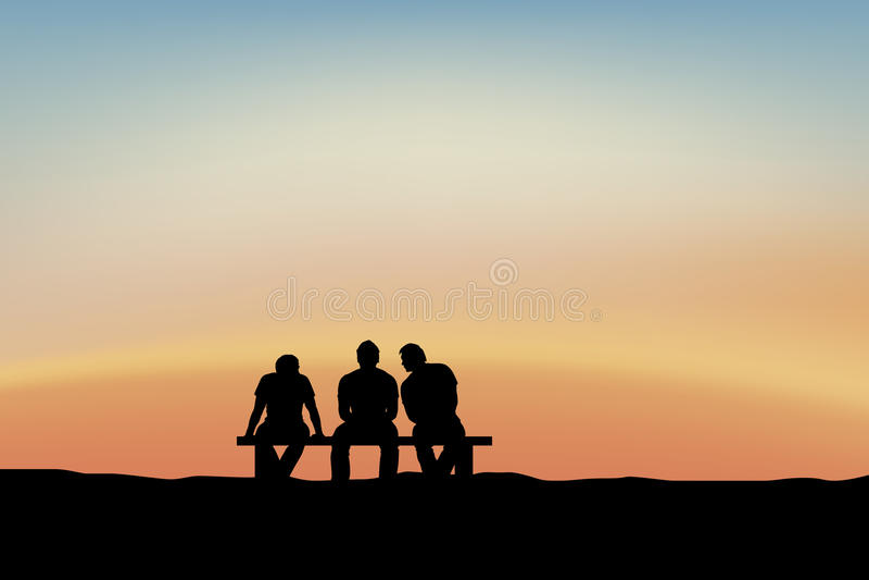 Men sitting and talking at sunset royalty free illustration