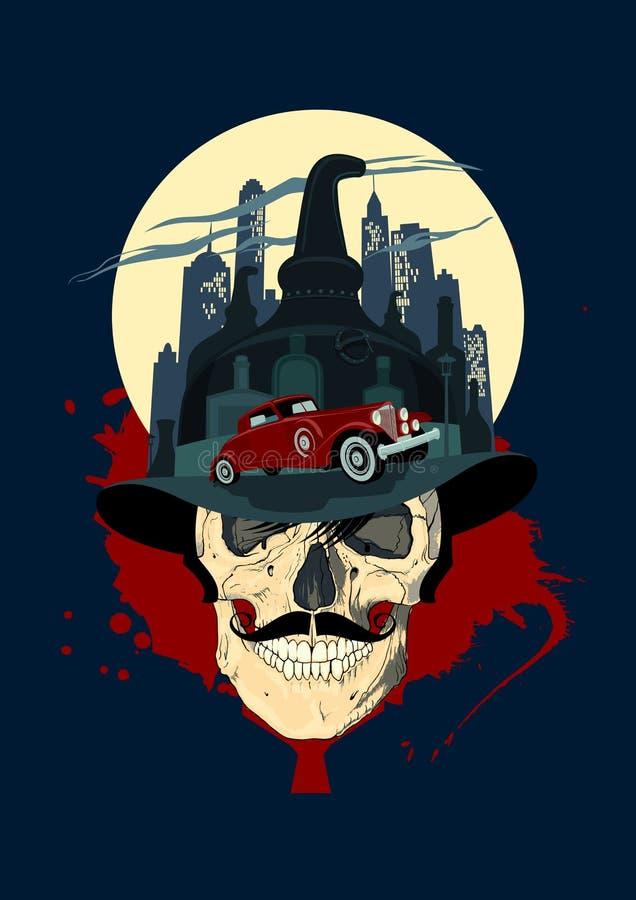 Men skull against night city, bootlegger design. royalty free illustration