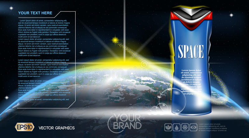 Men Space gel or Lotion cosmetic ads template. Refreshing skin toner. Cosmic background. Mockup 3D Realistic Vector royalty free illustration