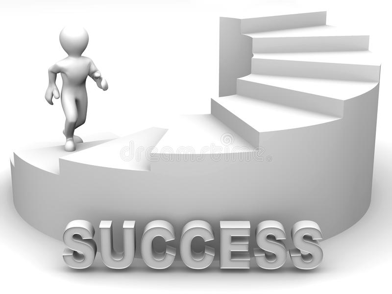 Men on stairs. 3d Success vector illustration