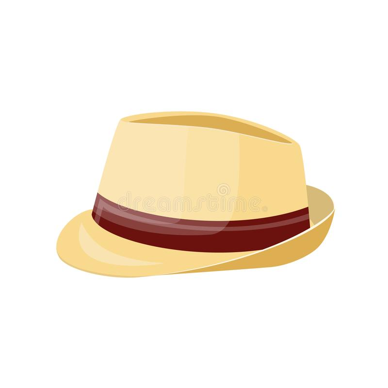 Men straw hat. Straw sunhat isolated on white. Summer bonnet. Vector illistration in flat style royalty free illustration