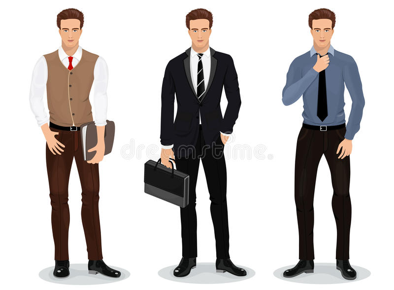 Men in stylish clothes. Set of businessmen. Detailed male characters. Vector stock illustration