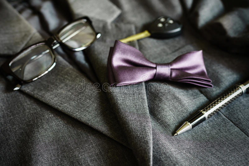 Men suit and accessories stock image