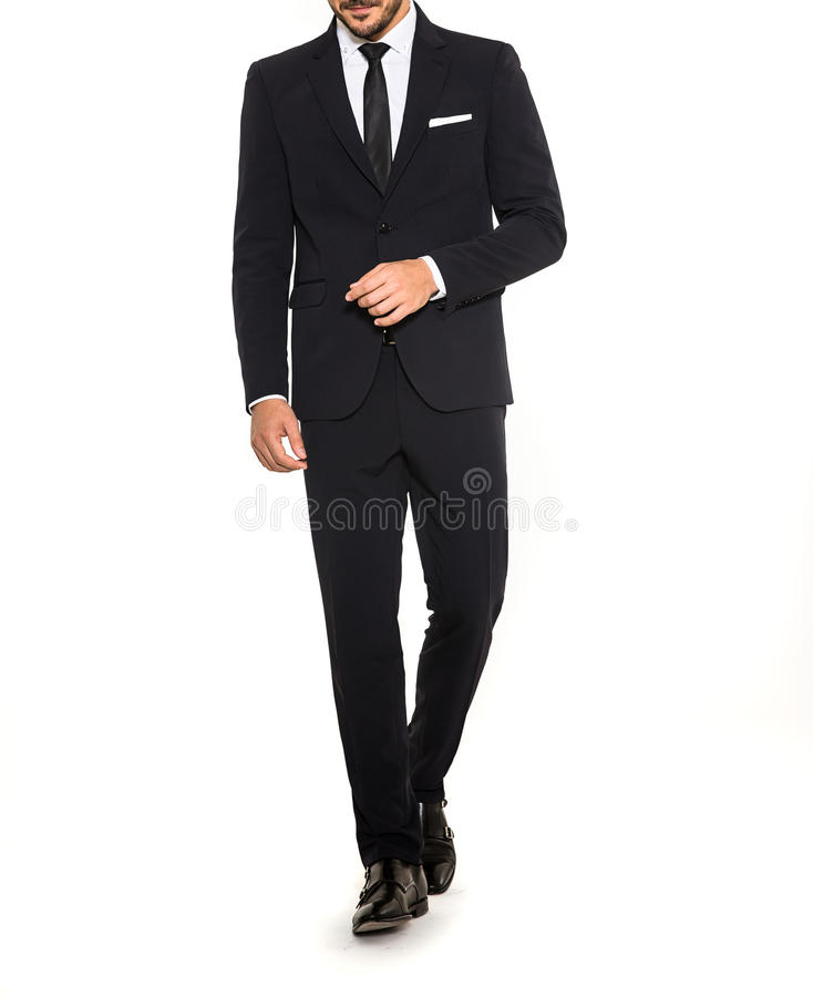 Men suit fashion black suit tie and white shirt royalty free stock images