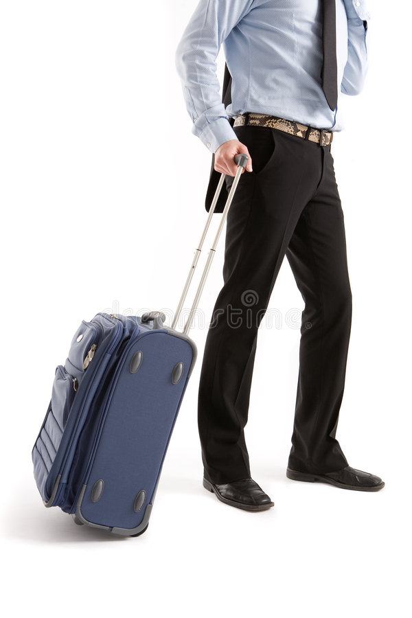 Men with suitcase stock photography