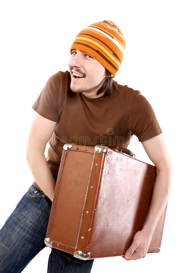 Men with suitcase stock photo