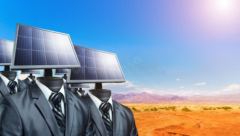 Men in suits with solar panels instead of a head stock photos