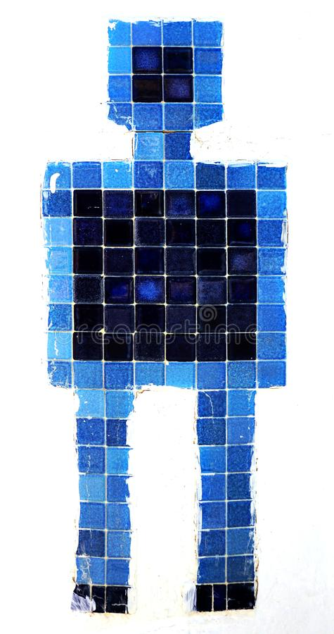 Men toilet symbol bathroom made of tile stock photography