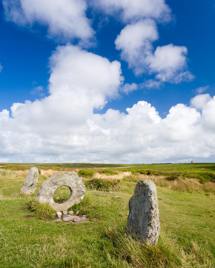 Men-an-tol. The Men-an-tol standing stones Penwith Moor, Cornwall England stock images