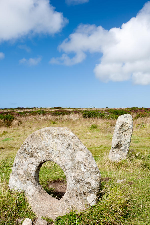 Men-an-tol. The Men-an-tol standing stones Penwith Moor, Cornwall England royalty free stock image