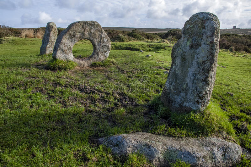 Men-an-Tol ancient stones. Men-an-Tol, ancient monument in Cornwall royalty free stock image