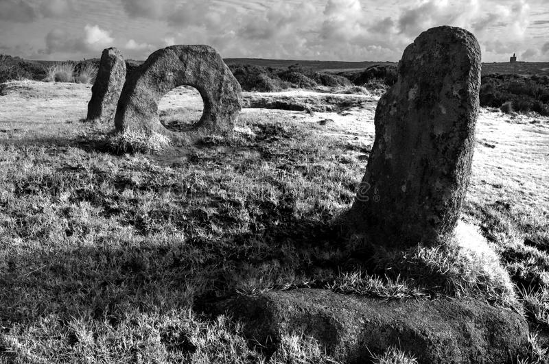 Men-an-Tol ancient stones. Men-an-Tol, ancient monument in Cornwall,England royalty free stock photos