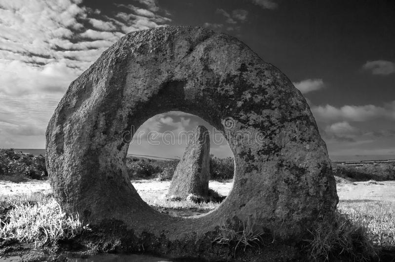 Men-an-Tol ancient stones. Men-an-Tol, ancient monument in Cornwall,UK royalty free stock images