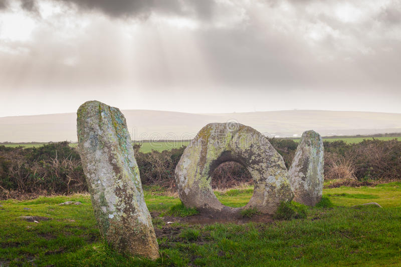 Men-an-Tol Cornwall England UK. The Men-an-Tol is thought to date to either the late Neolithic or early Bronze Age. Located on Penwith Moor Cornwall England royalty free stock photo