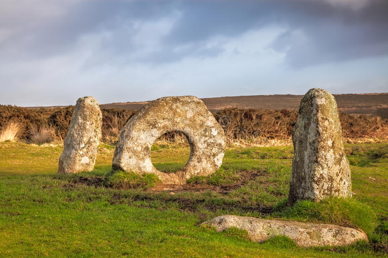 Men-an-Tol Cornwall England UK. The Men-an-Tol is thought to date to either the late Neolithic or early Bronze Age. Located on Penwith Moor Cornwall England stock photos