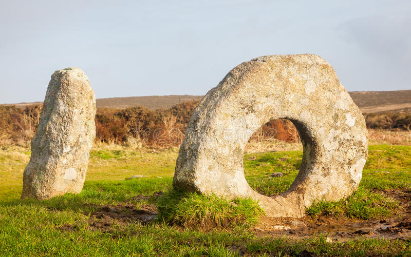 Men-an-Tol Cornwall England UK. The Men-an-Tol is thought to date to either the late Neolithic or early Bronze Age. Located on Penwith Moor Cornwall England royalty free stock photography