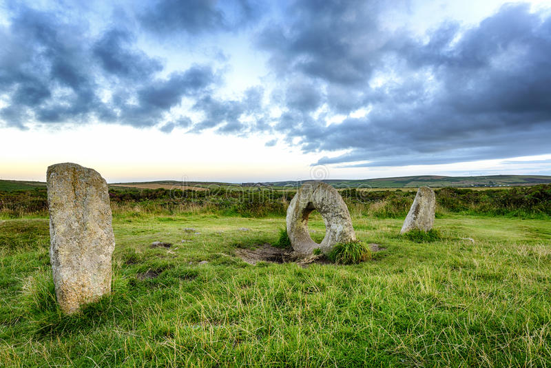 Men-An-Tol in Cornwall. The Men-an-Tol standing stones Near Penzance in Cornwal stock images
