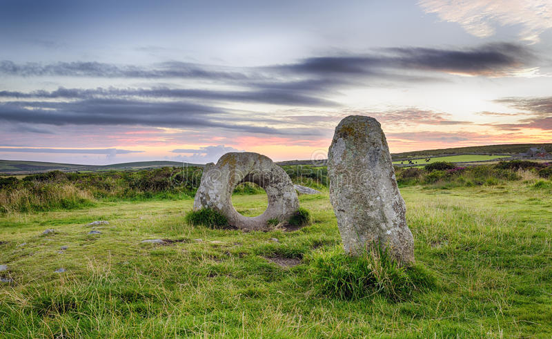 Men-An-Tol in Cornwall. The Men-an-Tol standing stones Near Penzance in Cornwal stock photo