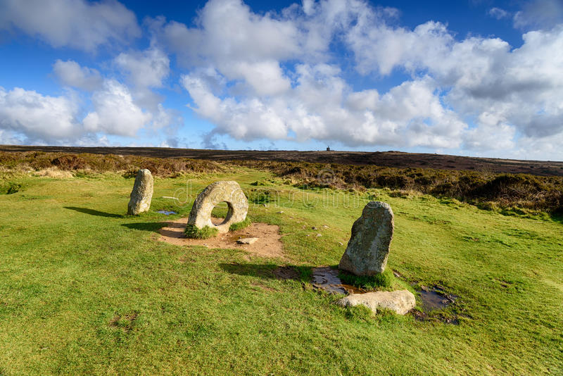 Men an Tol Stones. The Men an Tol standing stones near Penzance in Cornwall royalty free stock photography