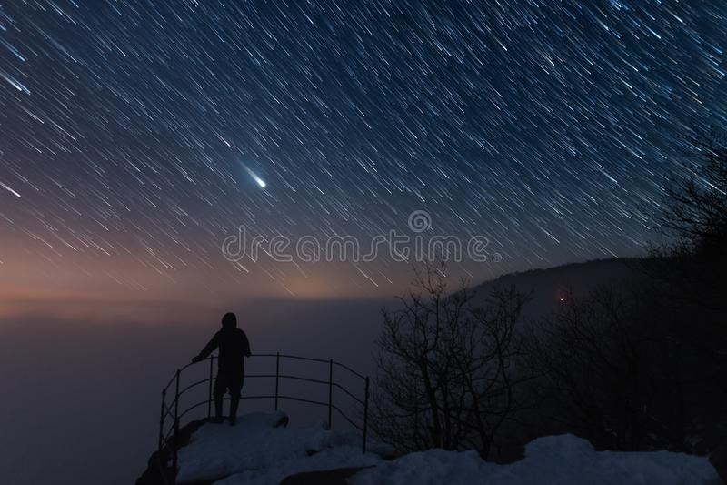 Download Men Is On The Viewpoint, Under The Startrail Stock Image - Image of constellation, galaxy: 107146007