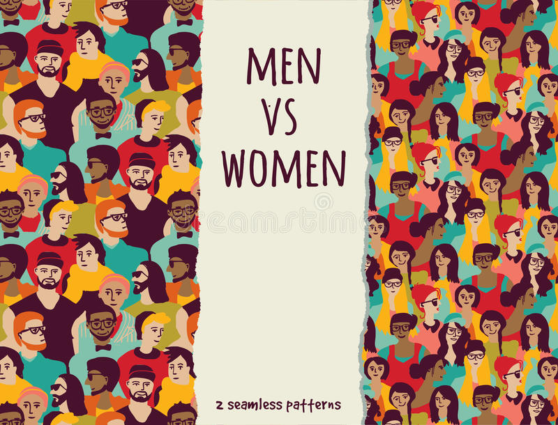 Men vs women crowd people color seamless patterns. stock illustration