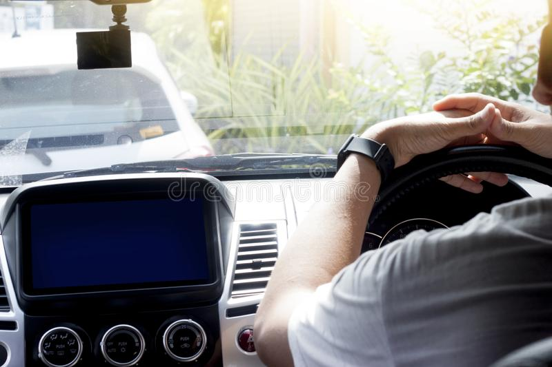 A men waiting in the car. stock images