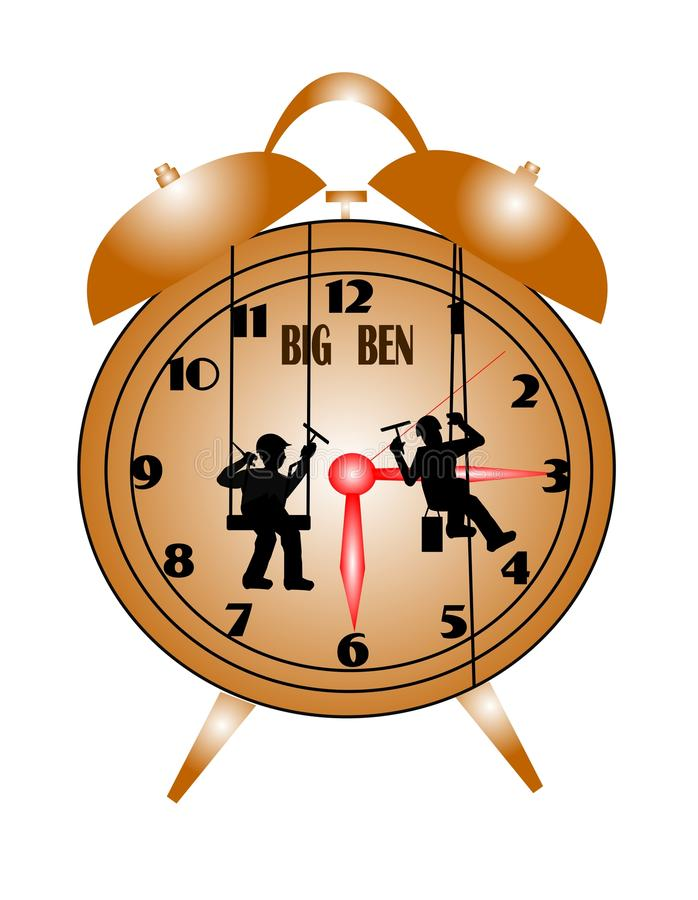 Men washing big ben clock royalty free illustration