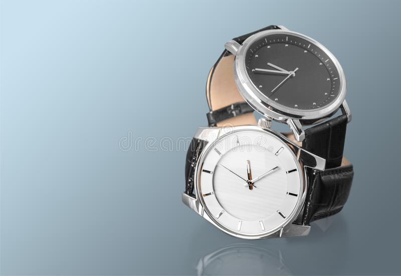 Men`s mechanical watches on background stock photos