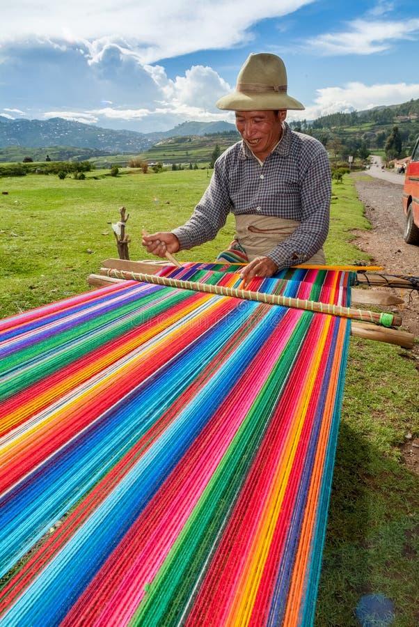 Men weaving in the peruvian Andes at Taquile Island on Puno Peru at janury 2th, 2008. PUNO, PERU - JANUARY 2,2008:- men weaving in the peruvian Andes at Taquile royalty free stock image