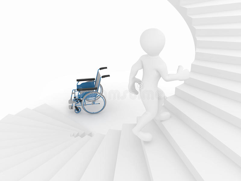 Download Men With Wheelchair And Stairs. Difficult Decision Stock Illustration - Image: 18863447
