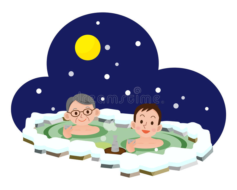 Men who bathe in hot springs. Vector illustration.Original paintings and drawing royalty free illustration