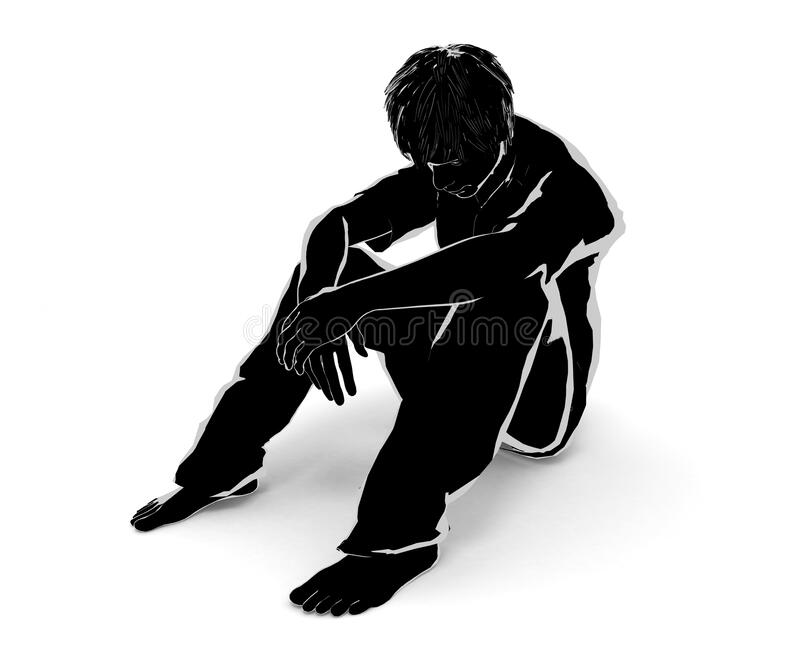 Lonely man. Worry alone. Think about your problem. 3D illustration vector illustration