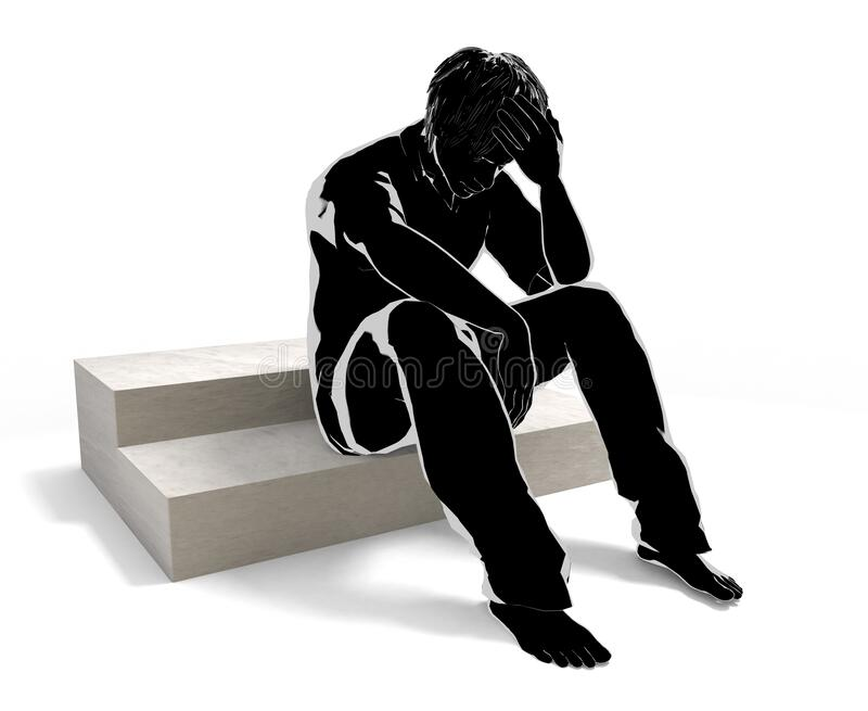 The man who caused the problem. A person who suffers alone. There are concerns. 3D illustration vector illustration