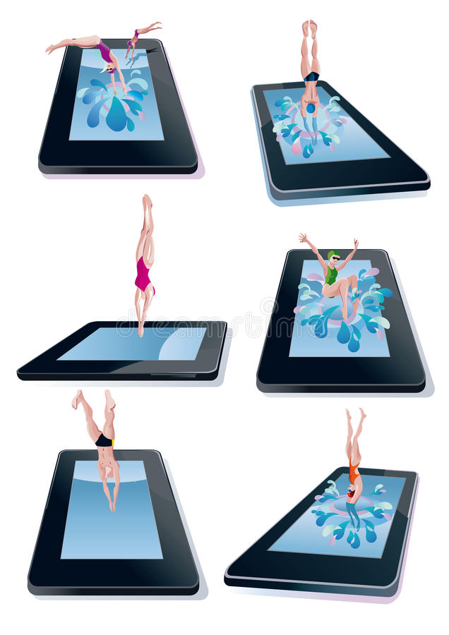 Download Men And Woman Diving Into Digital Tablet Royalty Free Stock Image - Image: 24232896