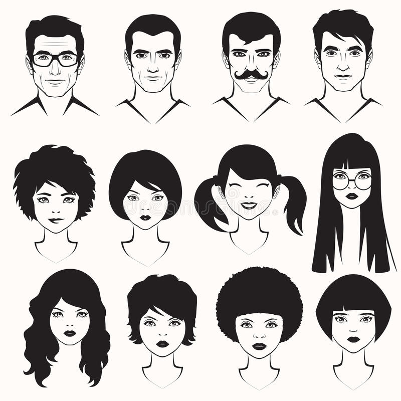 Men and woman face. Eye lips and hair, men and woman face parts, head character
