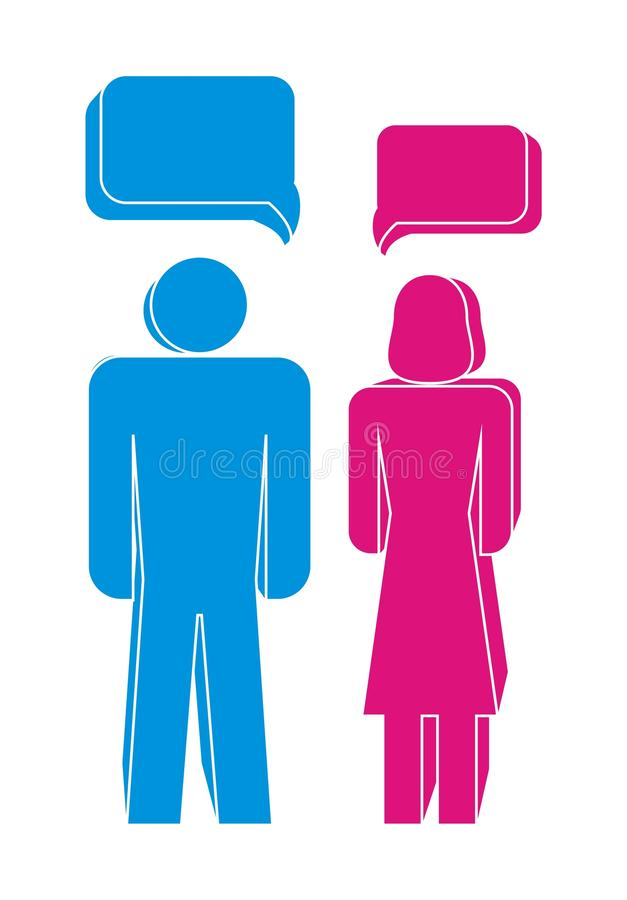 Men and women. Vector Men and women illustration in blue and red stock illustration