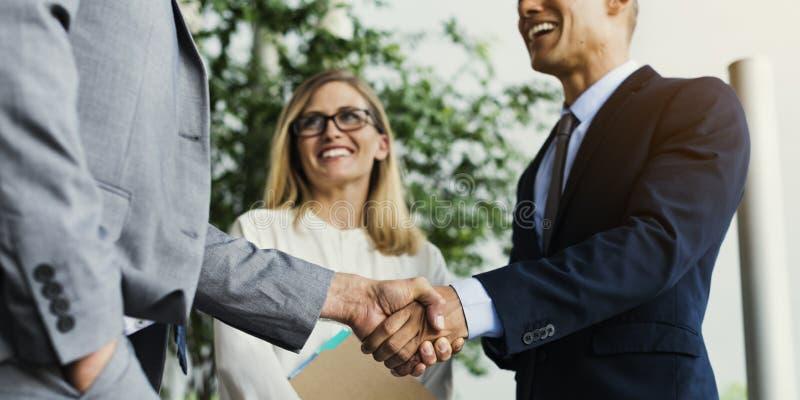 Men Women Business Agreement Hands Shake stock photography