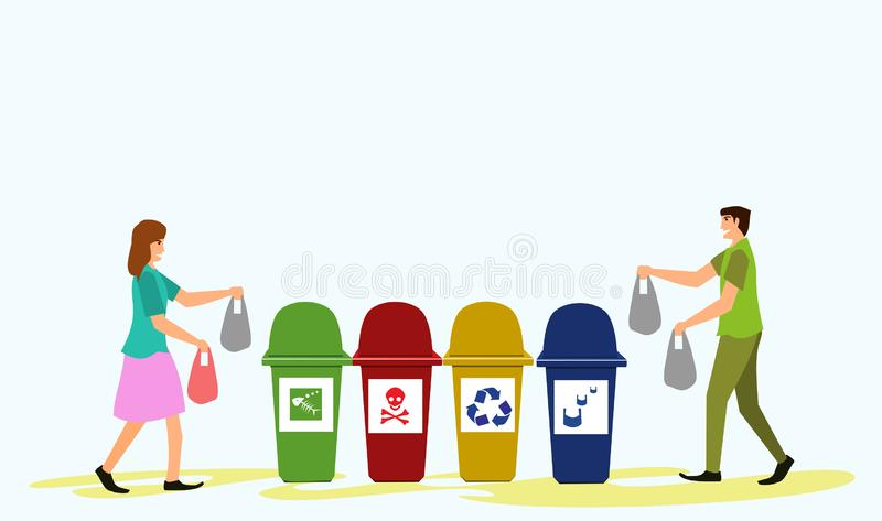 Men and women are carrying garbage bags. In order to leave the trash. With a blue background royalty free illustration