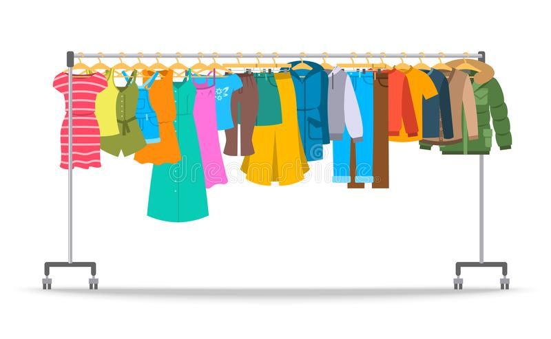 Men and women casual clothes on hanger rack stock illustration
