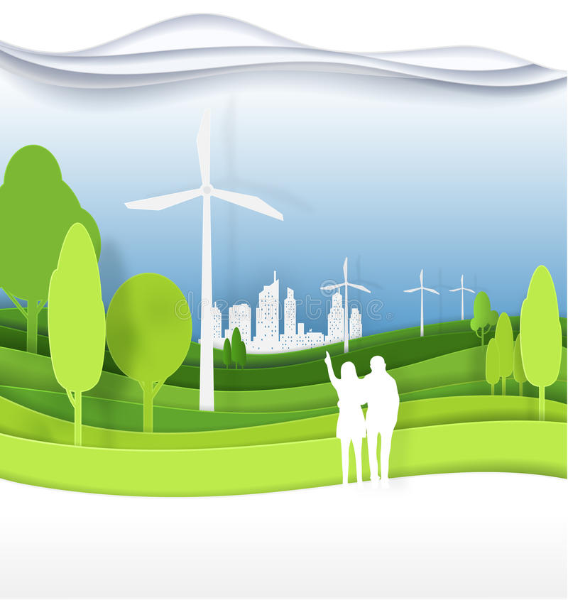 Men, women, couples in green city for life.The eco-friendly c stock illustration