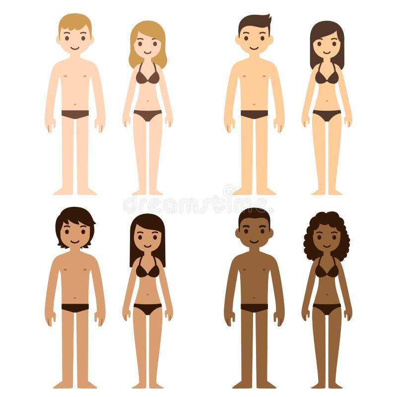 Men and women. Cute diverse men and women in underwear. Cartoon people of different skin tones, vector illustration stock illustration